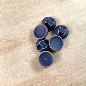 "Textile Garden 1/2"" Navy Blue Wood Shank Buttons x 6"
