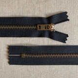 "YKK Antique Brass Jean Zipper - 7"" Various Colors"