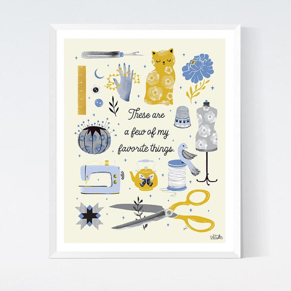 Favorite Sewing Things Art Print by Crafted Moon - Various Sizes
