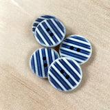 "Textile Garden 13/16"" White & Navy Blue Striped Buttons x 5"