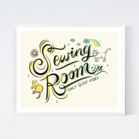 Sewing Room Art Print by Crafted Moon - Various Sizes