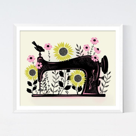 Garden Sewing Art Print by Crafted Moon - Various Sizes