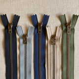 "YKK Antique Brass Jean Zipper - 5"" Various Colors"