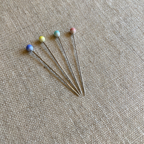 Marbled Glass Head Pins - 20 pcs