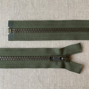 YKK Antique Brass Jacket Zipper: Army Green - Various Sizes