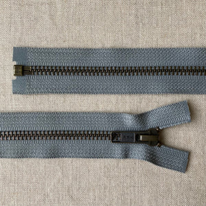 YKK Antique Brass Jacket Zipper: Medium Grey - Various Sizes