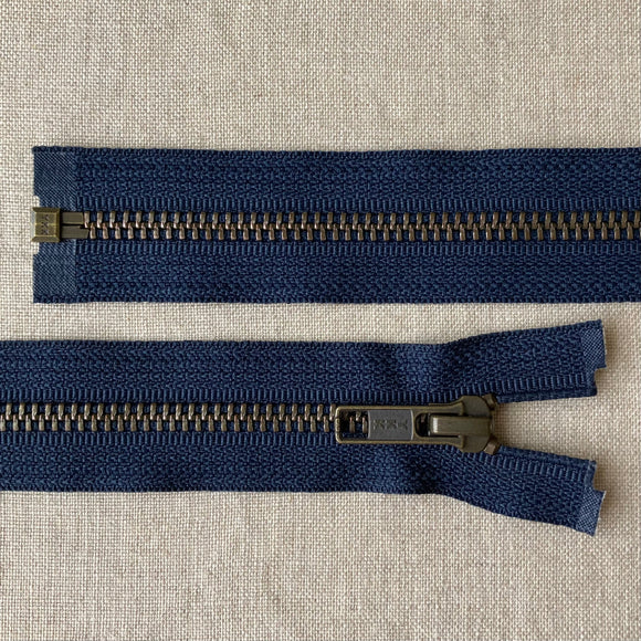 YKK Antique Brass Jacket Zipper: Navy - Various Sizes