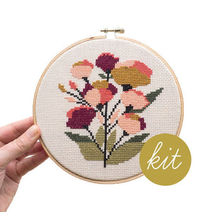 Coral Floral Cross Stitch Kit by Junebug and Darlin
