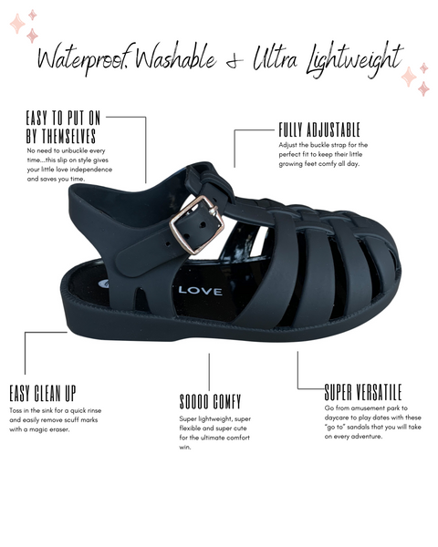 Matte Black Mary Jane Shoes for Toddler Girls - Jelly Shoes and Kids Sandals