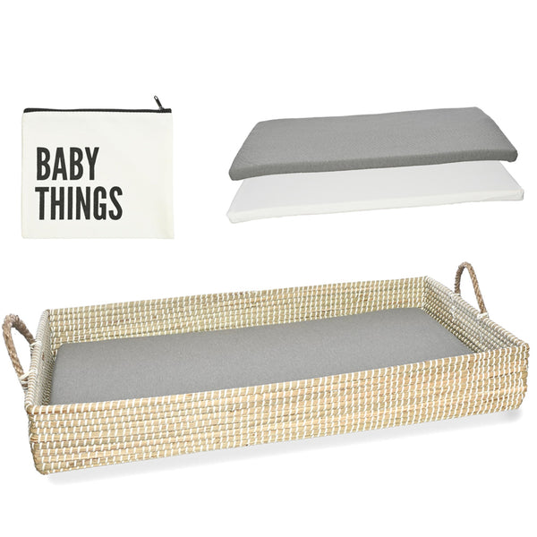 Baby Changing Basket Including Waterproof Diaper Changing Pad & Sheet (Natural Seagrass)