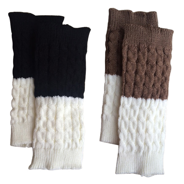 Black/Cream + Mocha/Cream Double Sided Reversible Boot Cuffs 2 pk.