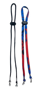 Blue Splash/Black Face Mask Lanyards for Kids and Adults - 2 Pack