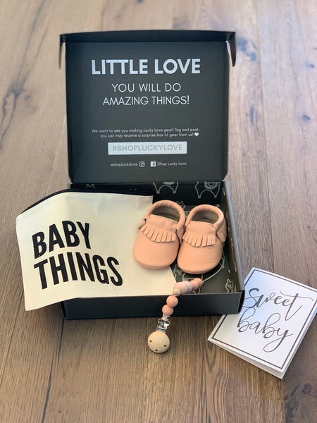 Blush Baby Moccasins Gift Set | Includes Pacifier Clip in a Canvas Bag