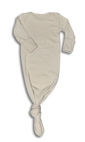 Ribbed Oatmeal Baby Gown in a Canvas Bag
