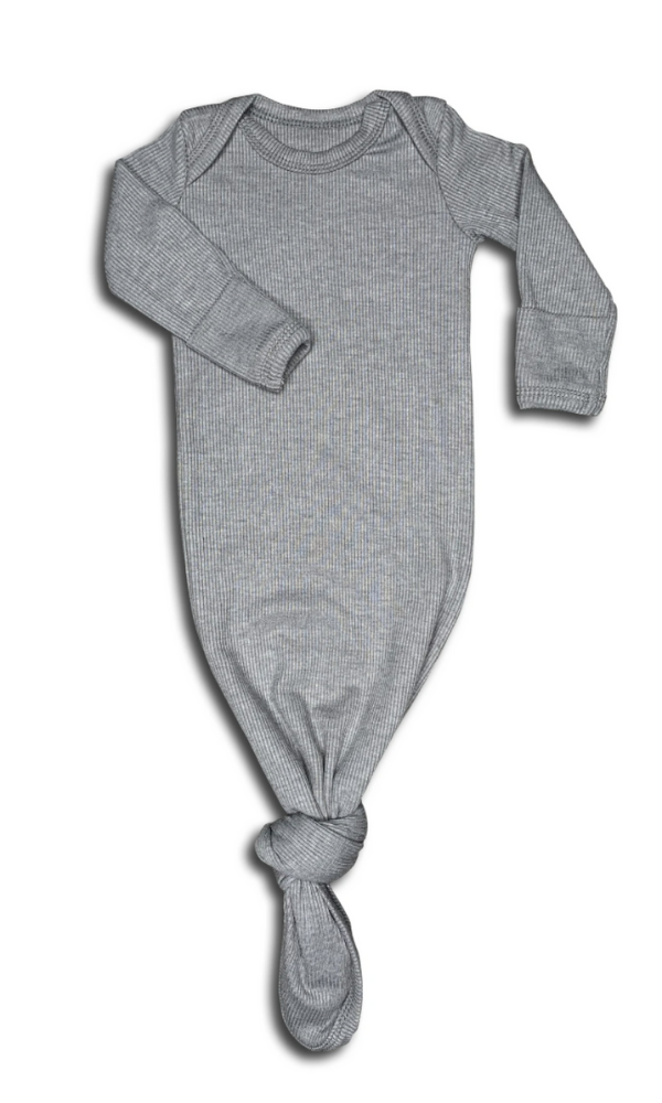 Ribbed Grey Baby Gown in a Canvas Bag