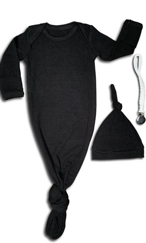 Ribbed Black Baby Gown & Beanie Gift Set | Includes Braided Pacifier Clip in a Gift Box