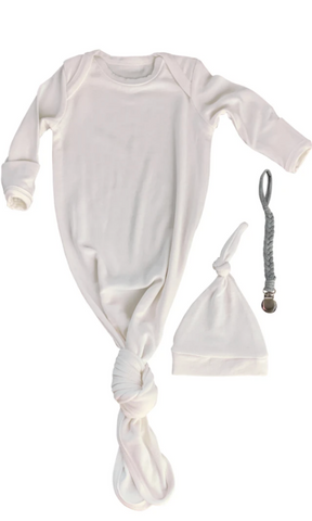 White Baby Gown & Beanie Gift Set | Includes Braided Pacifier Clip in a Gift Box