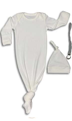 Ribbed White Baby Gown & Beanie Gift Set | Includes Braided Pacifier Clip in a Gift Box