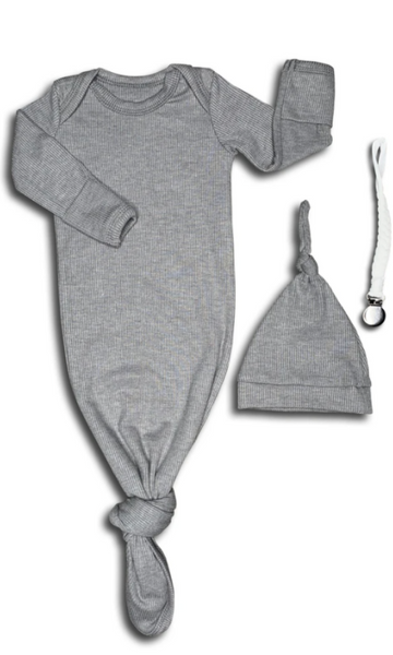Ribbed Grey Baby Gown & Beanie Gift Set | Includes Braided Pacifier Clip in a Gift Box