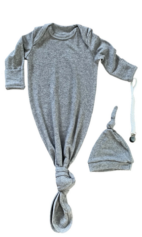 Grey Baby Gown & Beanie Gift Set | Includes Braided Pacifier Clip in a Gift Box