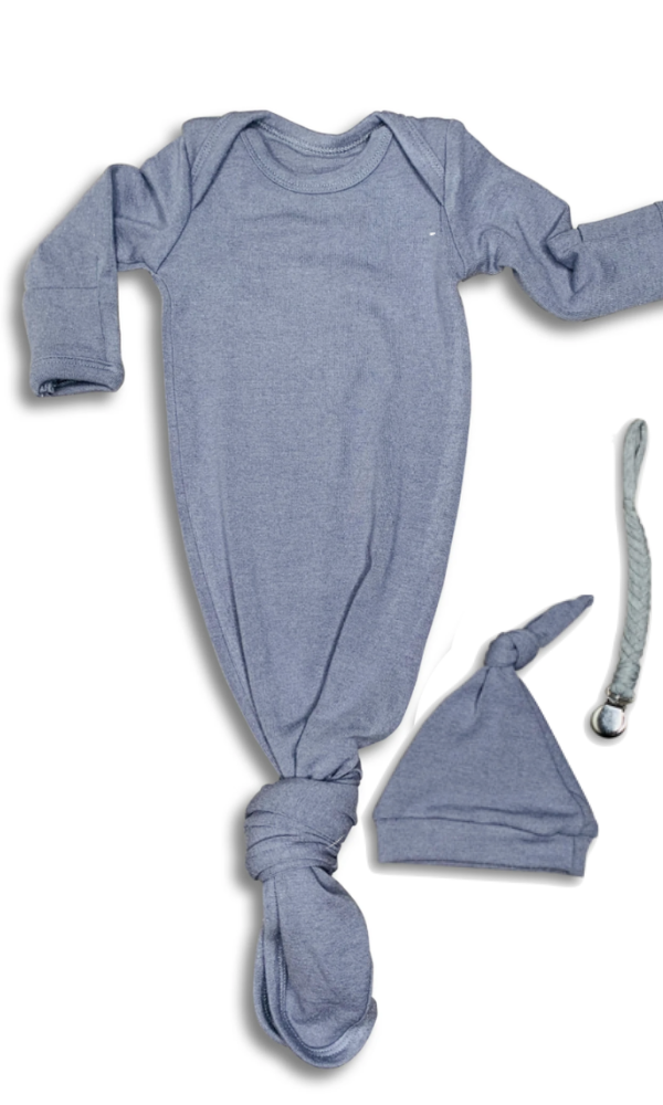 Blue Baby Gown & Beanie Gift Set | Includes Braided Pacifier Clip in a Gift Box