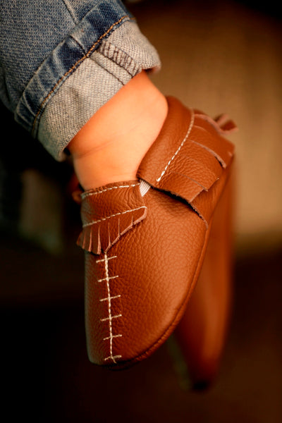Football Brown Fringe Moccasins