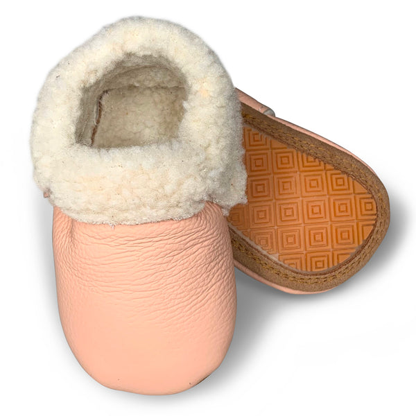 Blush Hard Sole Sherpa Moccasins
