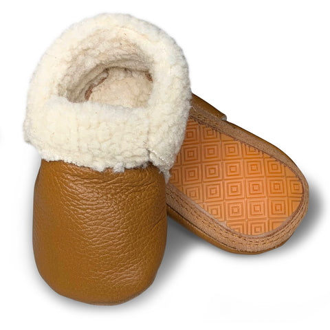 Ginger Hard Sole Sherpa Moccasins