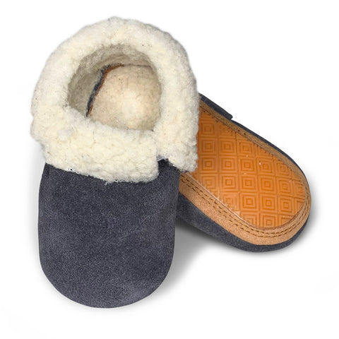 Grey Suede Hard Sole Sherpa Moccasins