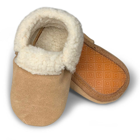 Tan Suede Hard Sole Sherpa Moccasins