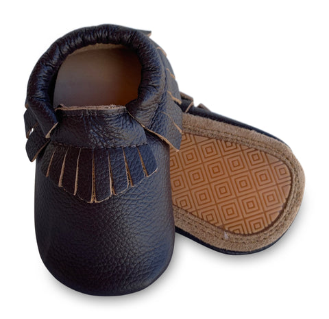 Brown Hard Sole Fringe Moccasins