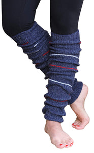 Blue Small Striped Reversible Leg Warmers