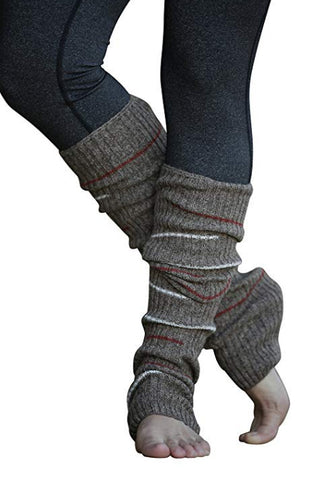 Brown Small Striped Reversible Leg Warmers