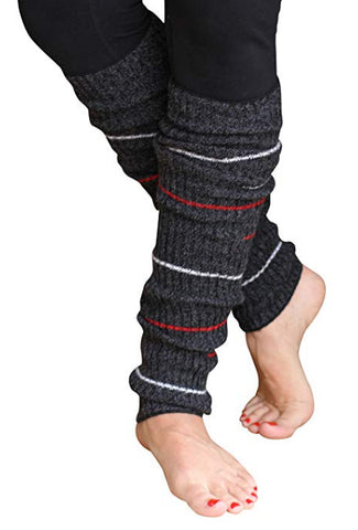 Charcoal Grey Small Striped Reversible Leg Warmers