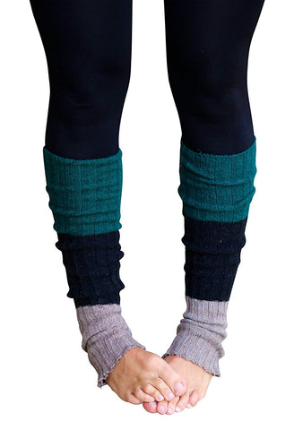 Green/Mocha Striped Reversible Leg Warmers