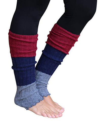 Maroon/Grey Striped Reversible Leg Warmers