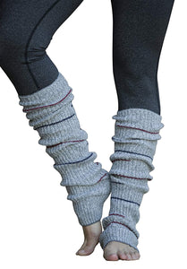 Grey Small Striped Reversible Leg Warmers