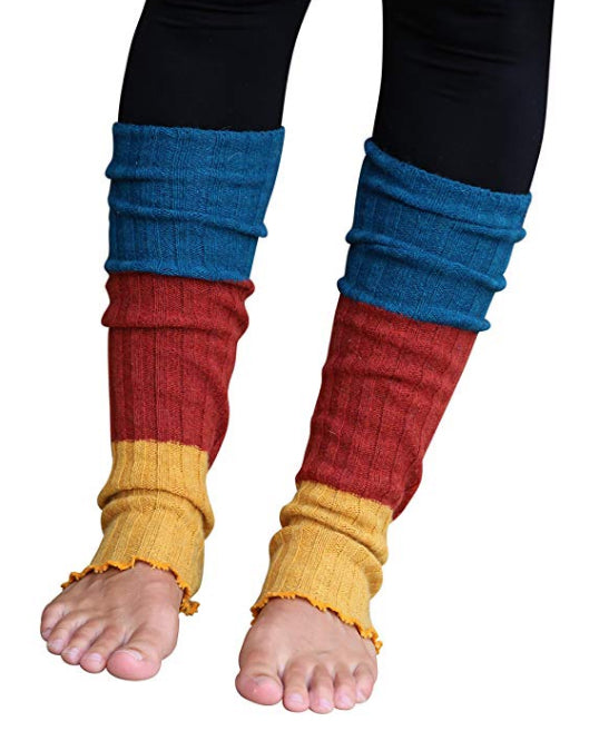 Yellow/Teal Striped Reversible Leg Warmers