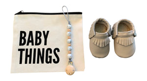 LT Grey Baby Moccasins Gift Set | Includes Pacifier Clip in a Canvas Bag