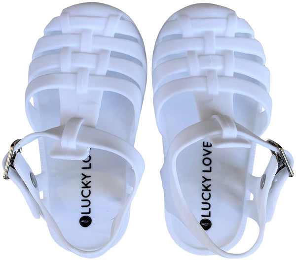 Matte White Mary Jane Shoes for Toddler Girls - Jelly Shoes and Kids Sandals