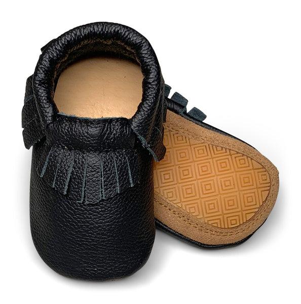 Black Hard Sole Fringe Moccasins