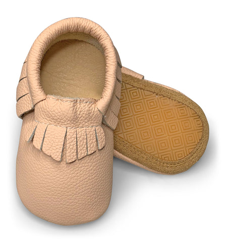 Blush Hard Sole Fringe Moccasins