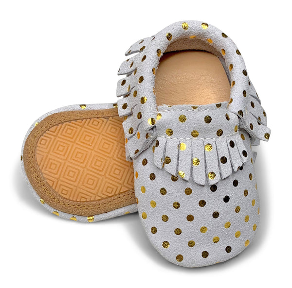Gold Polka Dot Hard Sole Fringe Moccasins