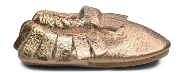 Rose Gold Hard Sole Fringe Moccasins