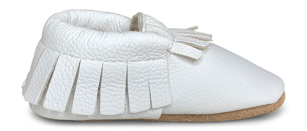 White Hard Sole Fringe Moccasins