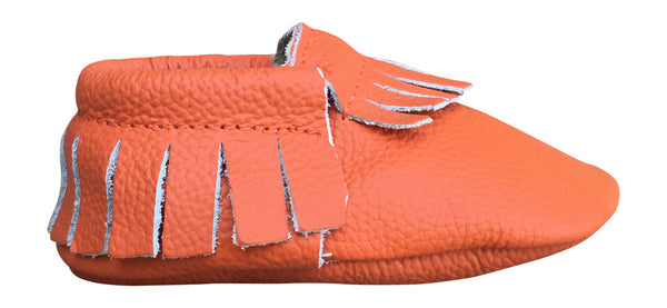 Orange Fringe Moccasins