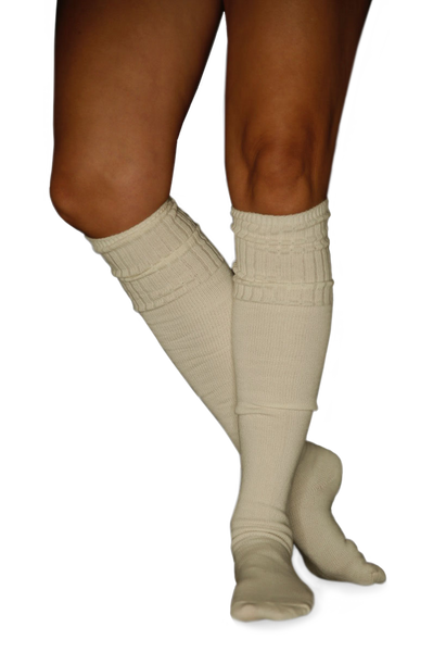 Cream + Charcoal 2 Pack Marled Knee Length Boot Socks