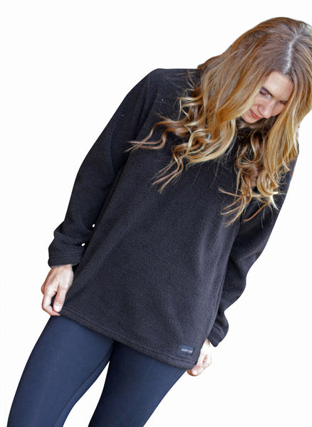 Black Fleece Pullover Jacket for Women