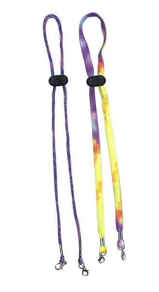 Purple Tie Dye/Pink Marble Face Mask Lanyards for Kids and Adults - 2 Pack