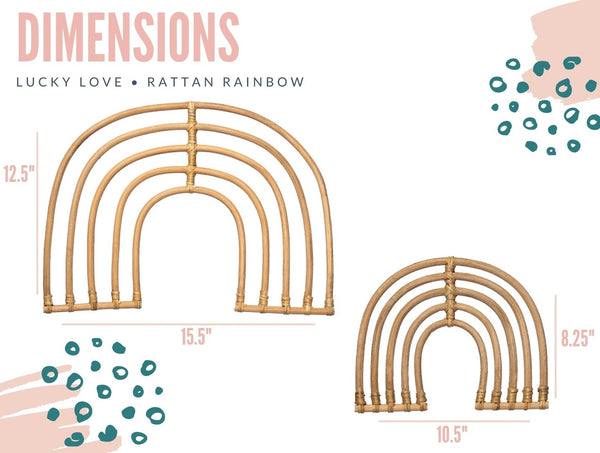 Rattan Rainbow Nursery Wall Decor for Baby Girl or Boy - Small + Large Rainbows 2 Pack